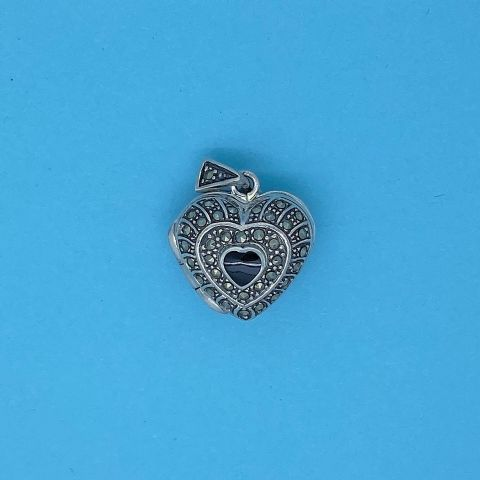 Genuine 925 Sterling Silver 17mm Heart With Onyx And Marcasite Locket Pendant